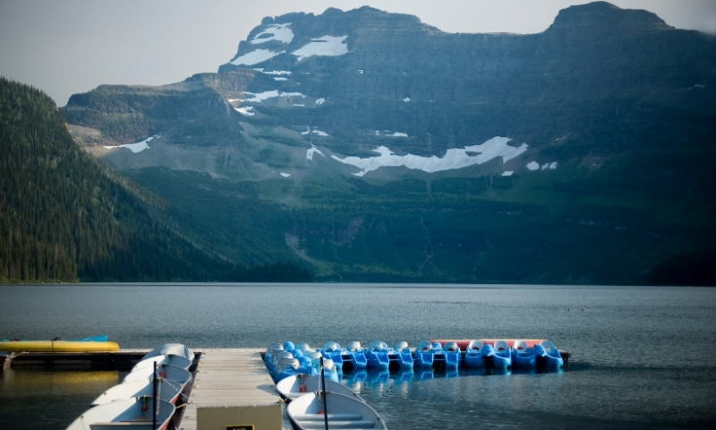 Waterton Lakes National Park Glacier Cameron Lake Boating Boat Canoe