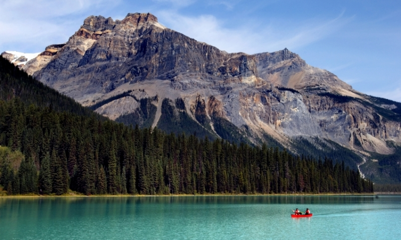 Emerald Lake Yoho National Park Canada Canadian Rockies Canoe Boating