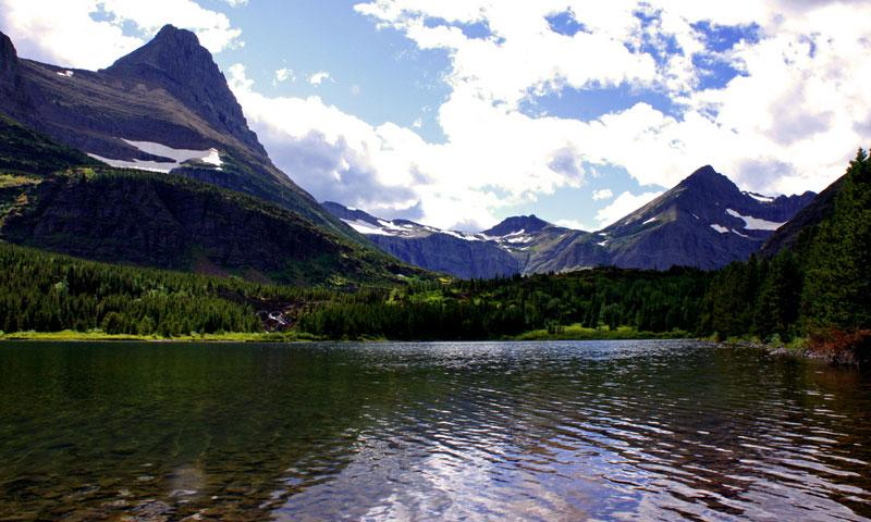 View of Swiftcurrent Lake from Many Glacier Hotel