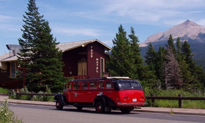 Glacier National Park Montana Red Jammer Bus Rising Sun Motor Inn