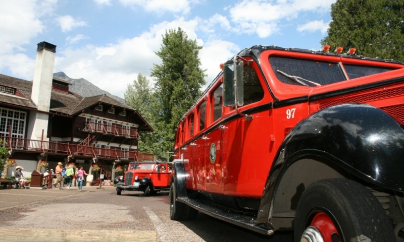 Glacier National Park Montana Red Jammer Bus Lake Mcdonald Lodge