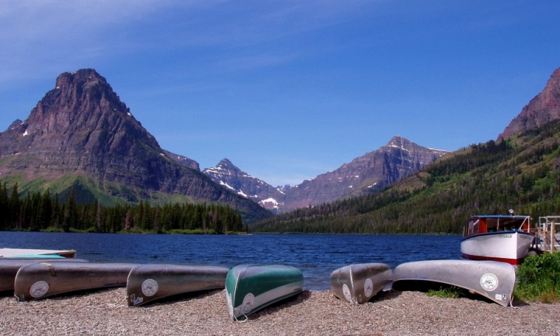 Glacier National Park Montana Two Medicine Lake Boating Boats
