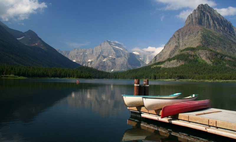Glacier National Park Montana Swiftcurrent Lake Canoe Canoeing Boating