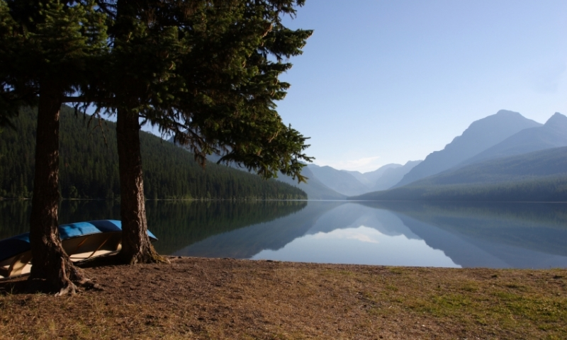 Glacier National Park Montana Bowman Lake Canoe