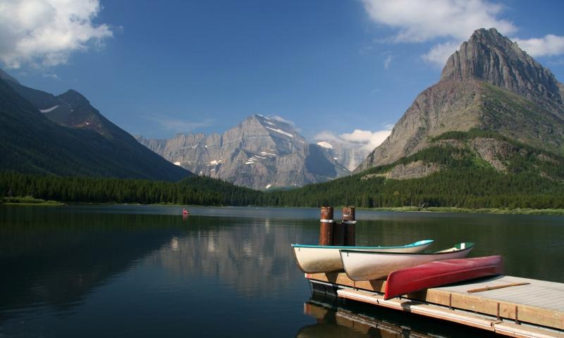 Glacier National Park Montana Swiftcurrent Lake Canoe Canoeing Boating